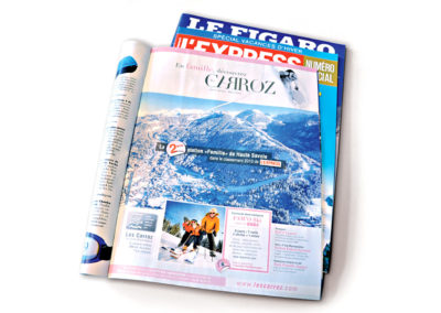 Les Carroz – Publicité nationale : L'Express, Le Figaro, L'Equipe.
